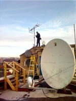 Aerial and satellite dish installed on the roof of a Belfast home by 1st Aerial Installations and Services, Northern Ireland